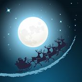 pic of sleigh ride  - Santa on his sleigh Christmas background riding through a twilight blue sky in front of the full moon with twinkling stars  vector card design  square format - JPG