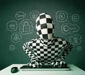 picture of virus scan  - Hacker in mask morphsuit with virus and hacking thoughts on green background - JPG