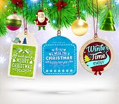 image of christmas claus  - Christmas Sale Tags Set with Labels for Xmas and New Year Holiday Design - JPG