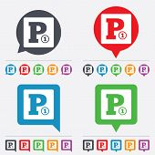 image of car symbol  - Paid parking sign icon - JPG