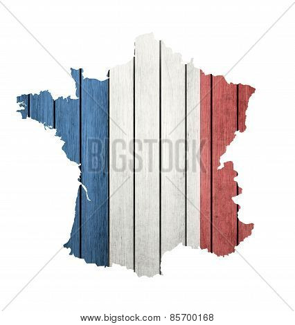 France Map With Wooden Flag
