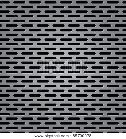 Silver Metal Background With Elongated Grill Slots And Light Reflection