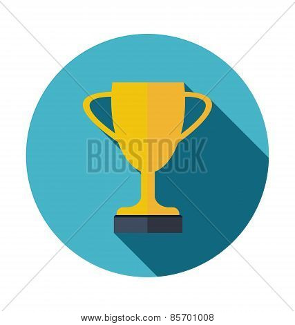 Golden Trophy Cup Flat Icon With Long Shadow Vector