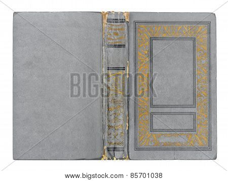 Old Grungy Deployed Gray Book Cover Isolated White Background