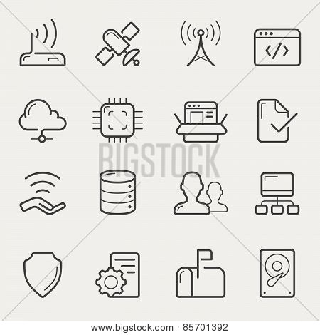 Network And Servers Line Icons