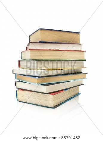 Stack Of Books Isolated On White Background Close-up