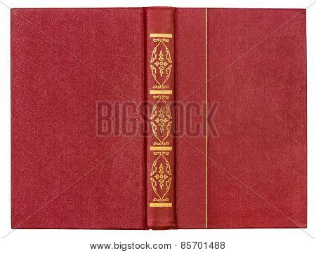 Red Leather Book Cover Isolated On White Background
