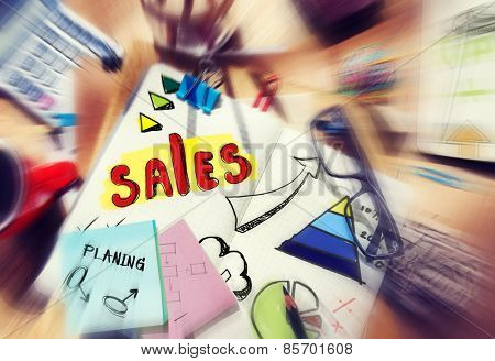 Note Pad and Sales Concept