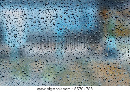 Raindrops On The Window Glass Bright Background