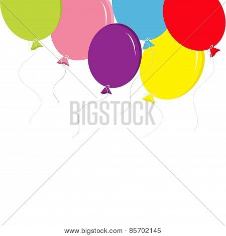 Colorful Balloon Set With Bow And Thread Greeting Card Background Temlate Flat Design