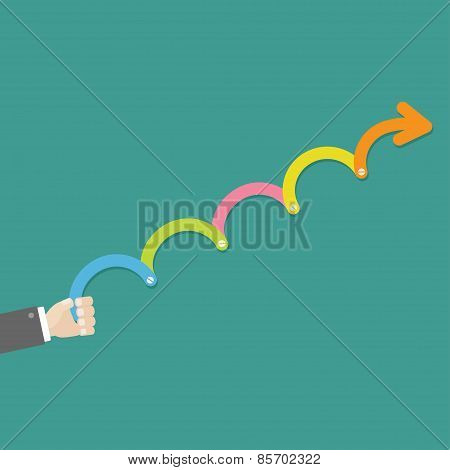 Hand With Colorful Timeline Up Upwards Arrow Screw Infographic Template. Flat Design.