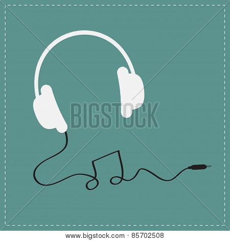 White Headphones Icon With Black Cord In Shape Of Note Music Background Card. Flat Design