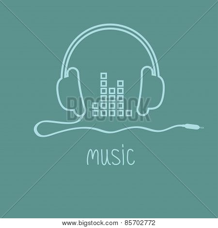 Headphones With Cord And Equalizer Word Music Background Card Outline Icon. Flat Design