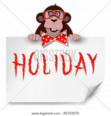 Cartoon Monkey With Glasses Holding A Sheet Of Paper On Which Is Written Holiday.