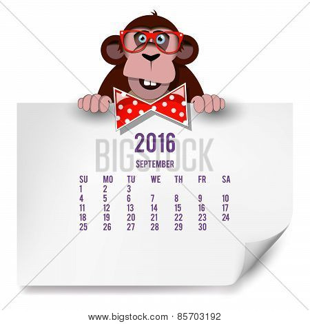 Calendar With A Monkey For 2016. The Month Of September.