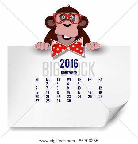 Calendar With A Monkey For 2016. The Month Of November.