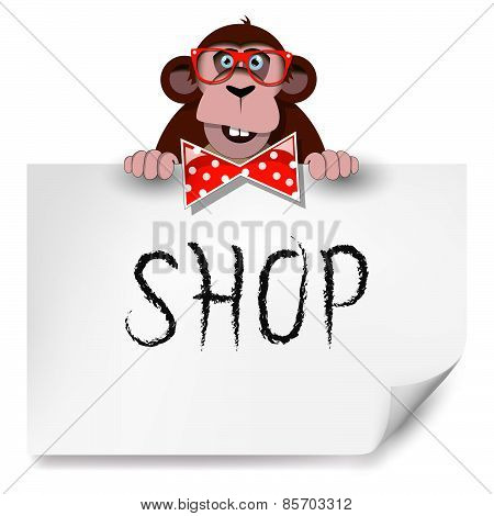 Cartoon Monkey With Glasses Holding A Sheet Of Paper On Which Is Written Shop.