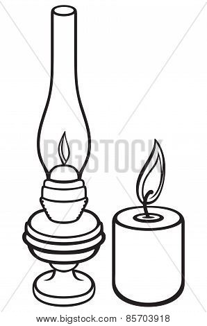 Kerosene lamp and candle