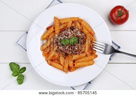 Penne Rigate Bolognese Or Bolognaise Sauce Noodles Pasta Meal From Above