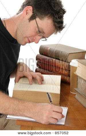 Handsome Young Male Studying