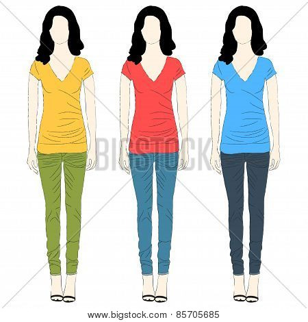 Girl t-shirt and jeans dresses