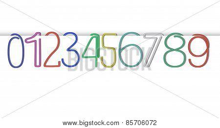 Vector Numeric Paper Clip Set