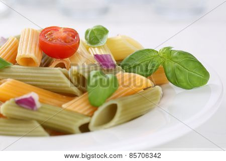 Colorful Penne Rigate Noodles Pasta Meal With Tomatoes