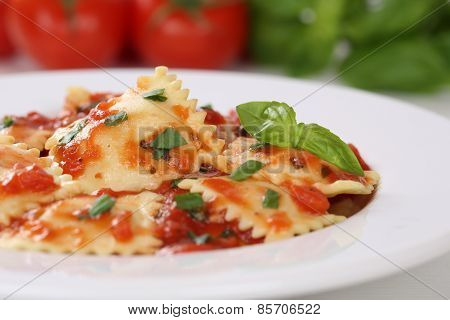 Italian Pasta Ravioli With Tomatoes And Basil Meal