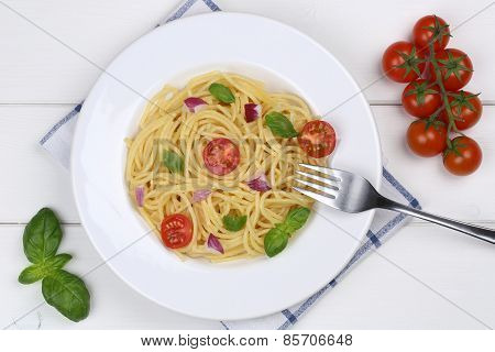 Spaghetti With Basil And Tomatoes Noodles Pasta Meal From Above
