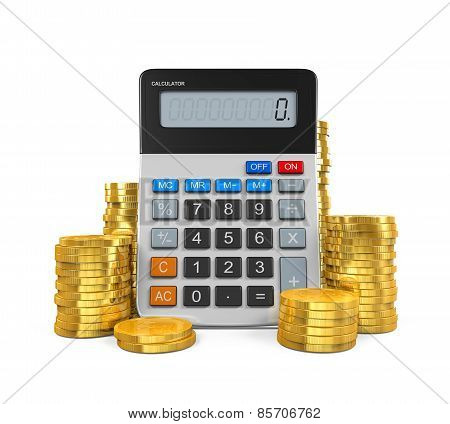 Calculator with Bar Graph and Coins