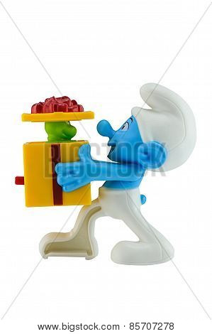 Smurf hold a gift box with green snake