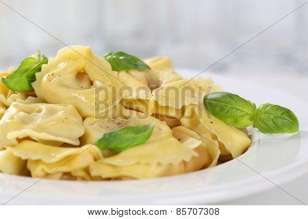 Tortellini Pasta Noodles Meal With Basil