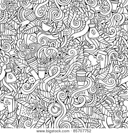 Coffee doodles vector seamless pattern
