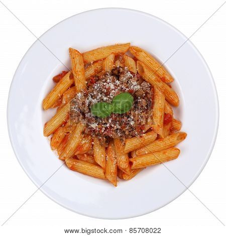 Penne Bolognese Or Bolognaise Sauce Noodles Pasta Meal Isolated