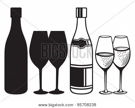 Wineglasses and bottles