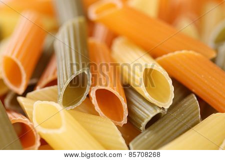 Colorful Raw Penne Rigate Noodles Pasta