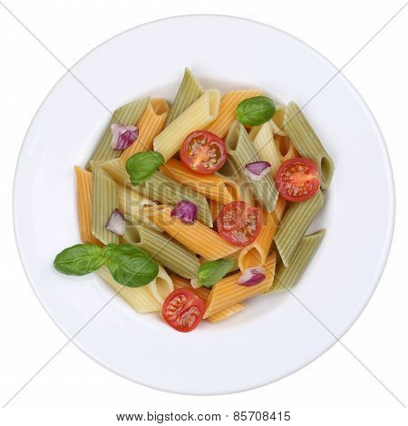 Colorful Penne Rigate Noodles Pasta Meal Isolated