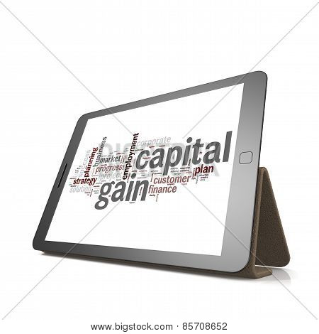Capital Gain Word Cloud On Tablet