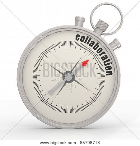 Compass With Collaboration Word Isolated On White Background