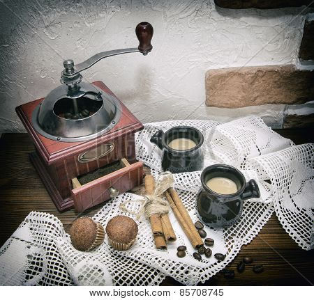 Coffee Mill, Photo In Old Image Style.