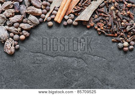Oriental Spices On The Stone Background