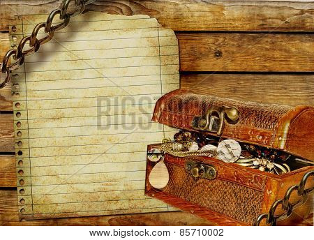 Vintage blank page with pirate's treasure