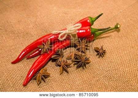 Chile Peppers Tied With A Rope And Star Anise Fruits On Old Cloth
