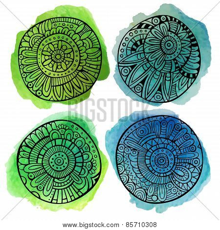 Set of decorative watercolor vector floral elements