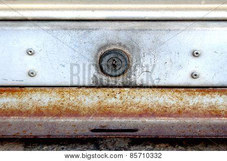 Key Hole Of Old Rolling Steel Door