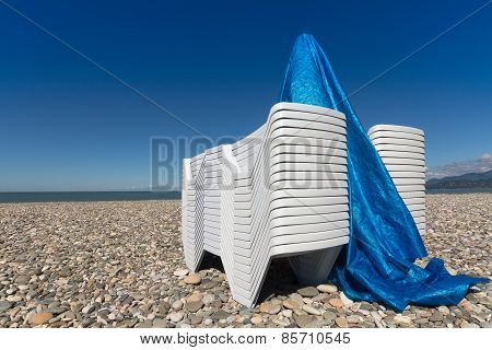 Sun Lounger On A Pebblestone Beach