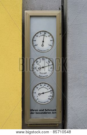 Germany, Street Thermometer And Barometer