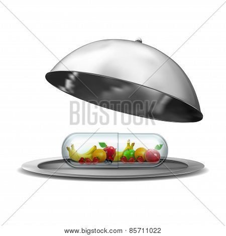 pill on the silver plate isolated on white background. high resolution