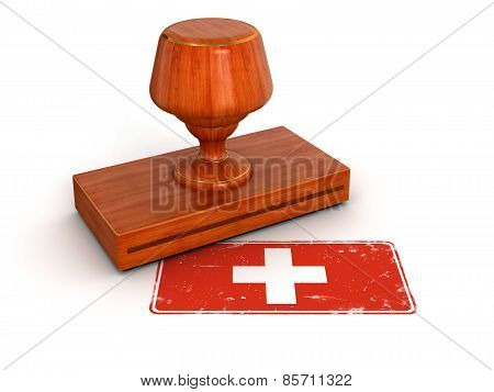 Rubber Stamp Swiss flag (clipping path included)