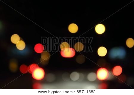 Bokeh From Traffic Light And Car